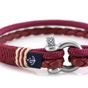 Constantin Nautics® Jack Tar SLIM bőr és vitorláskötél karkötő CNJ10076-19